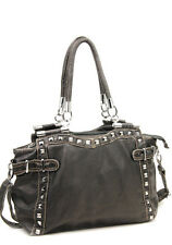 Black Washed Designer Inspired Lock Faux Leather Studs Big Handbag. Tote Bag