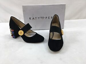 "Katy Perry ""The Alice"" Black Suede Block Heel L2304"