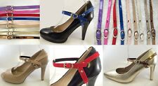 Detachable Shoe Straps Band Purple Pink Red Brown Blue Silver Ivory Gold Bronze