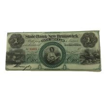 1800's New Jersey $1 Obsolete Currency State Bank At New Brunswick,