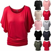 Ladies Womens Oversize Batwing Sleeve Ruched Round Neck Baggy Casual T Shirt Top