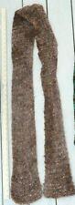 "Brown multi-shade yarn knitted scarf w/ metallic copper shiny threads 86"" x 5"""