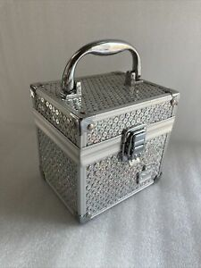 Caboodles Small Train Case Silver Sequence Makeup Cosmetic Storage 10/2011 Used