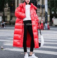 Lose Damen Teenager Daunejacke Kapuzemantel Schick Lange Street Fashion Winter