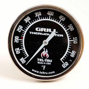"""Tel-Tru BQ225 BBQ Grill & Smoker Thermometer 2"""" Dial 2.13"""" Stem 100*650 Black"""