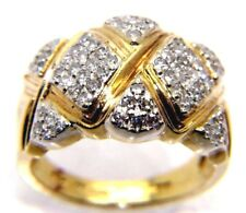 Unusual Ladies Womens 9carat 9ct Yellow Gold Diamond Ring Size N
