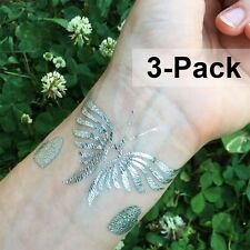 Silver Butterfly Temporary Tattoo Stickers for Summer Adult Jewelry Tattoos 3pcs