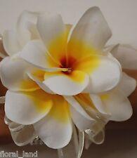 SILK WEDDING WHITE CREAM YELLOW FRANGIPANI WRIST CORSAGE BRIDAL FLOWER