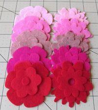 25 Pinks Felt wool Blend Die Cut Applique Flowers - 5 Colors