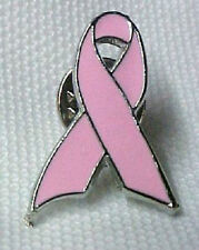 Pink Breast Cancer Awareness Ribbon Lapel Cap Pin Tac Clutch Back Silver New