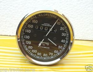 Royal Enfield   Motorcycle Speedometer 160 kmph  Replica Smiths - Black
