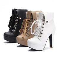 New Women's Platform High Heels Boots Lace Up Chunky Heel Ankle Shoes all uk sz