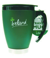 Travel Mug Ireland Small Dark green PVC Exterior Spill-Proof Lid Irish Souvenir