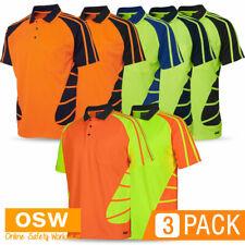 3 x Hi Vis Mens Ladies Women SPIDER Short Sleeve BUILDER Uniform Polo Work Shirt
