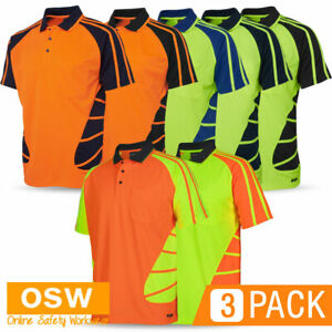 3 x Hi Vis Mens Ladies Womens Unisex SPIDER Short Sleeve Uniform Polo Work Shirt