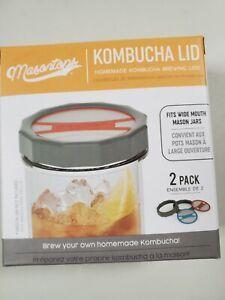 Masontops Kombucha Lid-Home Brewing Mason Jar Supplies 2PK- fits wide mouth jars