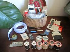 Vintage Sewing Items in Basket- Dean measuring tapes Sylko Cottons Kirbys needle