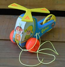VINTAGE 1970 FISHER PRICE #448 MINI COPTER PULL TOY HELICOPTER