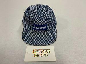 SUPREME CHECKER BOX LOGO CAMP CAP HAT 5 6 PANEL BLUE USED PRE-OWNED CHECK