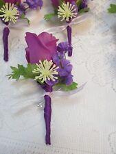 Purple Lavender  Boutonniere Wedding Bridal Prom Silk Flower Rose