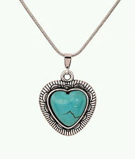 NEW WOMEN'S TIBETAN SILVER TURQUOISE HEART SHAPED PENDANT NECKLACE
