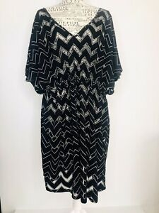 CITY CHIC Plus Size L 20 Sheer Black Zig Zag Flared Sleeve Swimsuit Cover Up