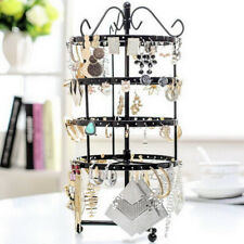 Stands Ring Display Jewelry Rack Holder Fashion 144 Holes Rotating Earring Metal