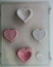 HEART DESIGN POUR BOX CLEAR PLASTIC CHOCOLATE CANDY MOLD V124