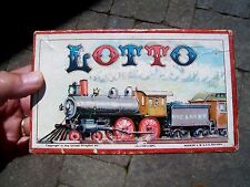 VINTAGE GAME OF LOTTO STEAM TRAIN RAILROAD GRAPHICS - J.W. SPEAR & SONS BAVARIA