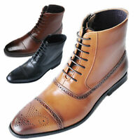 Chelsea Boots Shoes Brogue Casual Side Zip Ankle Men's Leather Work Martin Boots