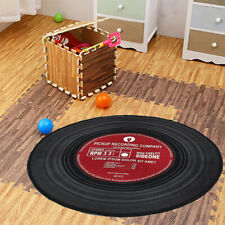 Modern Record Printed Round Floor Mat Carpet Room Fibers Pad Bedroom Home Rug