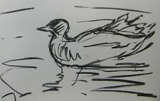 JOSE TRUJILLO Artist ORIGINAL CHARCOAL DRAWING Duck Pond Sketch Artwork Decor
