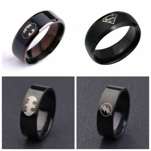 Fashion Men Titanium Stainless Steel Chic Polished Black Ring Jewelry Size 6-14