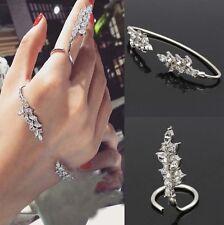 Women Zircon Hand Cuff Leaf Crystal Palm Bracelet Bangle Ring Fashion Jewelry