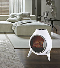 Portable Free Standing 1.8Kw White Retro Oval Flame Effect Electric Fireplace