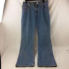 dd3679d38c2 Levis Blue Jeans Womens Denim 519 100% Cotton Flare Low Rise 11 JR M B13
