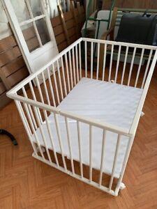 Parc pour bébé - Bois - Blanc - Réglable en hauteur