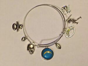 LA Los Angeles Chargers NFL 8 Charm Bracelet Jewelry Silver Helmet Football Logo