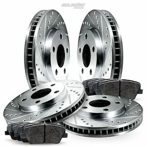 Full Kit Drilled Slotted Brake Rotors Disc and Ceramic Pads For Eclipse,Galant