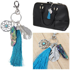 Silver Bohemian Boho Dream Catcher Feather gemstone Tassel Charm Keychain