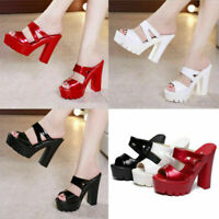 Womens High Block Heel Slip On Sandals Peep Toe Platform Wedge Mules Shoes Size