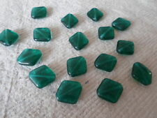 Czech Glass Beads ~ 20 x 16mm Teal Green ~ Diamond Shaped Beads