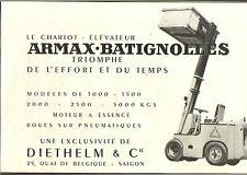 VIETNAM SAIGON ETS DIETHELM CHARIOT ELEVATEUR ARMAX-BATIGNOLLES PUBLICITE 1953