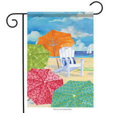 "Sunnyside Umbrellas Garden Flag Beach Nautical Surf Shore Sand 13"" x 18"""
