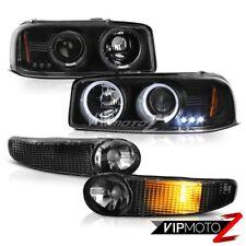 2000-2006 Yukon XL 1500 Sierra Denali Black Halo Angel Eye LED Headlights Bumper
