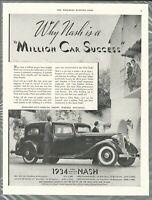 1934 NASH advertisement, Nash sedan photo, large size advert