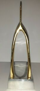 Gorgeous NIMA OBEROI LUNARES Wishbone Book End, Gold Plated And Silver