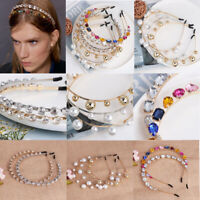 Elegant Women Crystal Pearl Headhand Headband Hair Band Hoop Hair Accessories