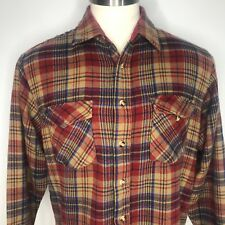 Vtg 70s Sears Mens Store Plaid Flannel Button Up Field Shirt L Brown Red Blue