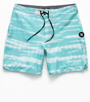 "Hurley Phantom Tigerdye Men's 18"" Boardshorts Swimsuit Aqua White New 36 38"